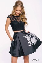 Jovani Two Piece Cocktail Dress with Lace Top 42289