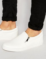 Asos Slip On Sneakers in White With Zips