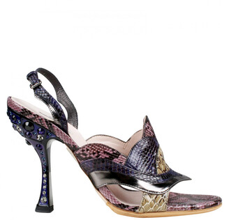 Miu Miu Multicolor Jeweled Python Slingback Sandals Size 36