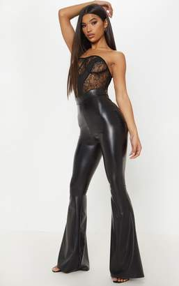 PrettyLittleThing Black Faux Leather Flare Trouser