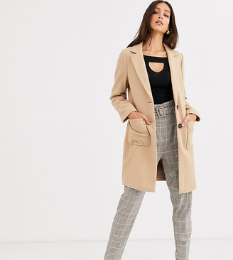 New Look Tall button front coat in camel-Beige