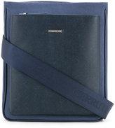 Cerruti front pocket shoulder bag - men - Cotton/Calf Leather - One Size