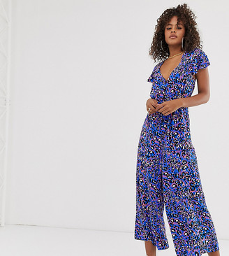 ASOS DESIGN Tall frill sleeve jumpsuit with cut out back in animal print
