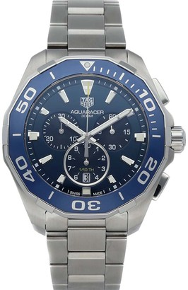Tag Heuer Blue Stainless Steel Aquaracer Chronograph CAY111B. BA0927 Men's Wristwatch 43 MM