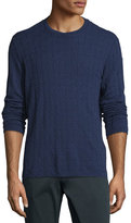 Armani Collezioni Textured Diamond-Jacquard Crewneck Sweater, Blue