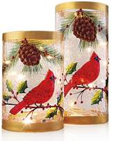 Home EssentialsTM 2-Piece Hand-Painted Holiday Hurricanes with LED String Lights
