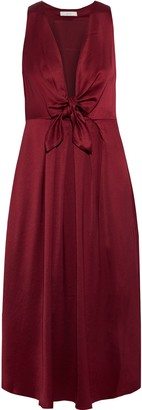 Joie Kataniya Knotted Pleated Satin Midi Dress