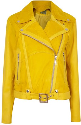Zut London Classic Combined Suede & Leather Biker Jacket With Belt & Buckle - Yellow