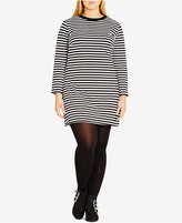 City Chic Plus Size Mono Magic Striped Bodycon Dress