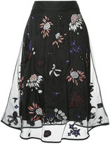 Markus Lupfer floral embroidered midi skirt