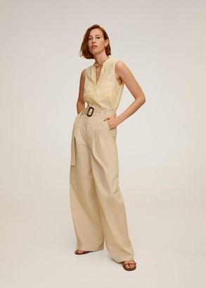 MANGO Linen-blend Mao shirt pastel yellow - 10 - Women
