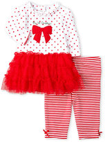 Little Me Newborn/Infant Girls) Two-Piece Polka Dot Dress & Leggings Set