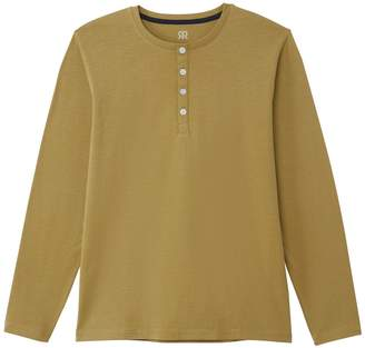 La Redoute Collections Cotton Long-Sleeved T-Shirt with Grandad Collar