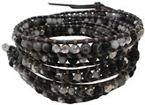 Chan Luu Black Crystal Mix Wrap On Natural Brown Leather Bracelet