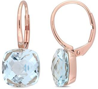 Diamond Select Cuts 14K Rose Gold 10.50 Ct. Tw. & Sky Blue Topaz Earrings