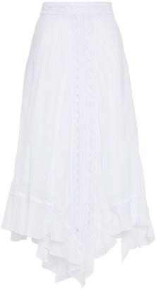 Charo Ruiz Ibiza Lua Asymmetric Crocheted Lace-trimmed Cotton-blend Voile Midi Skirt