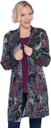 Susan Graver Printed Sweater Knit Cardigan and Knit Tank Set