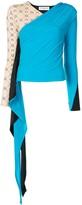 Marine Serre draped detail colour block blouse