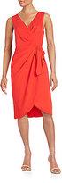 Badgley Mischka Mock-Wrap Sleeveless Dress
