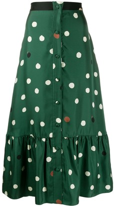 Chinti and Parker Polka Dot Midi Skirt