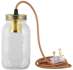 Jamjar Lights JamJar lights - Gold Cable Jar Light - Glass/Gold