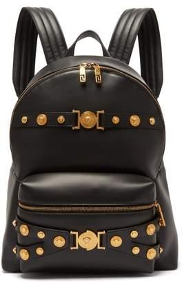 Versace Medusa Head Leather Backpack - Mens - Black