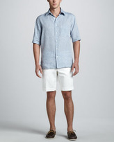 Brioni Short Sleeve Linen Shirt with Check Contrast, Blue