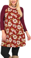 Celeste Burgundy Floral Three-Quarter Sleeve Tunic - Plus