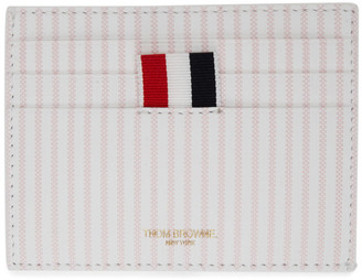 Thom Browne Pink and White Striped Double Sided Card Holder