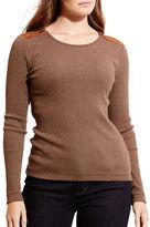 Lauren Ralph Lauren Plus Zip-Shoulder Cotton Top