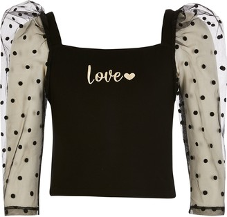 River Island Girls Black 'Love' organza puff sleeve top