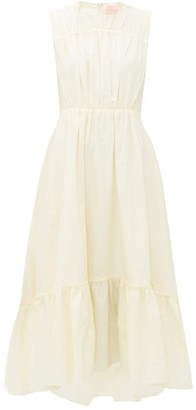 Roksanda Lucia Gathered Cotton-poplin Midi Dress - Womens - Ivory