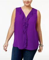 INC International Concepts Plus Size Ruffled Blouse, Only at Macy's