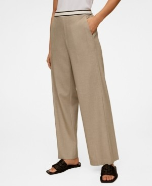 MANGO Drawstring Waist Straight Trousers