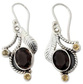 Novica Smoky Quartz and Citrine Dangle Earrings, 'Dew Blossom'