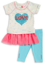 Flapdoodles Girls 2-6x Sequin Love Top and Leggings Set