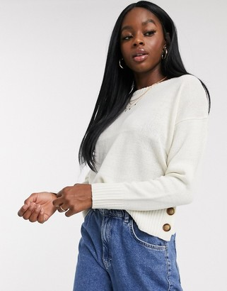 Brave Soul harlow crew neck jumper with button detail in cream