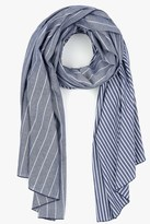 7 For All Mankind Donni Charm Donni Diagonal Scarf In Blue Chambray