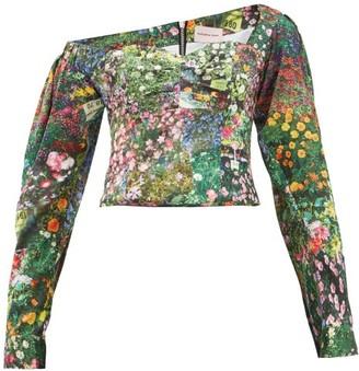 Natasha Zinko Off-shoulder Floral-print Satin Top - Womens - Multi