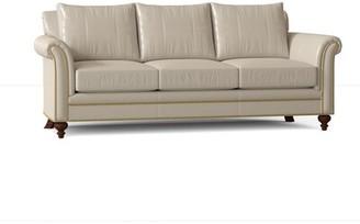 "Bradington-Young Richardson 91"" Rolled Arm Sofa Body Fabric: Outsider Cloud, Leg Color: Espresso, Nailhead Detail: Antique, Cushion Fill: Spring Down"