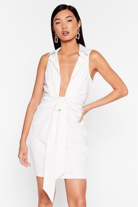 Nasty Gal Womens Bow for It Plunging Mini Dress - Ivory