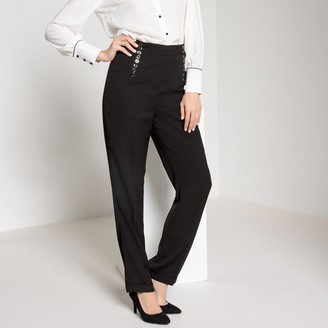 """Anne Weyburn Straight High Waisted Crepe Trousers, Length 30.5"""""""