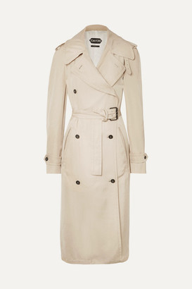 Tom Ford Double-breasted Leather-trimmed Twill Trench Coat - Beige