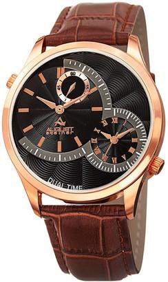 August Steiner Men's Swiss Quartz Multifunction Dual Time Brown Leather Strap Watch