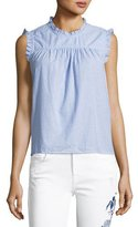 Velvet Chenille Sleeveless Cotton Top, Blue