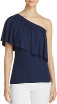 Three Dots Ruffle One-Shoulder Top