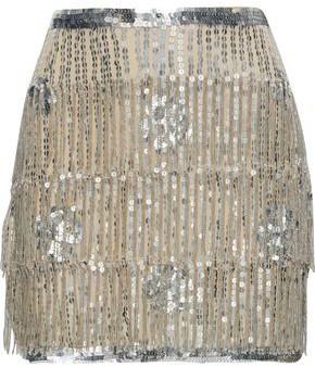 Mes Demoiselles Mondaine Fringed Embellished Chiffon Mini Skirt