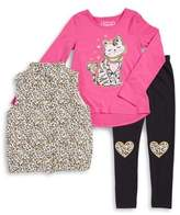 Flapdoodles Little Girl's Three-Piece Sweatshirt, Vest and Pants