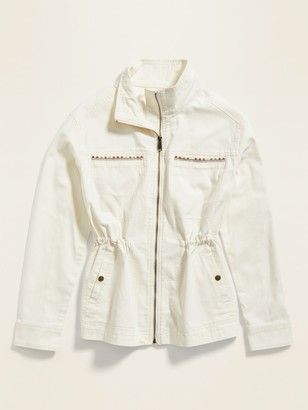 Old Navy Embroidered Canvas Utility Zip Jacket for Women