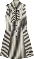 McQ by Alexander McQueen Pussy-bow Striped Satin-twill Mini Dress - White